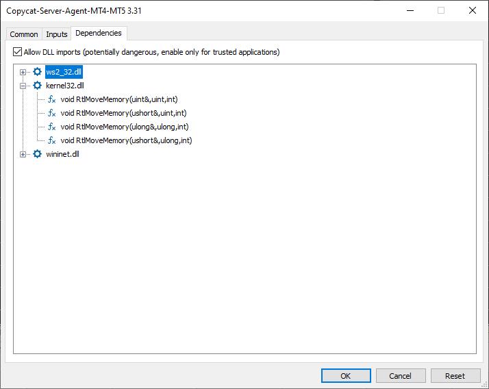 copycat ea settings dependencies